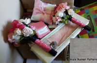 Selling Pink Wedding Lot - Aisle Runner, Feather Pen and more!