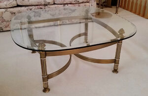 Brushed bronze glass-top living room table
