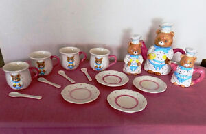 CHILD'S CERAMIC TEA SERVICE FOR FOUR BY BATTAT FRANCE