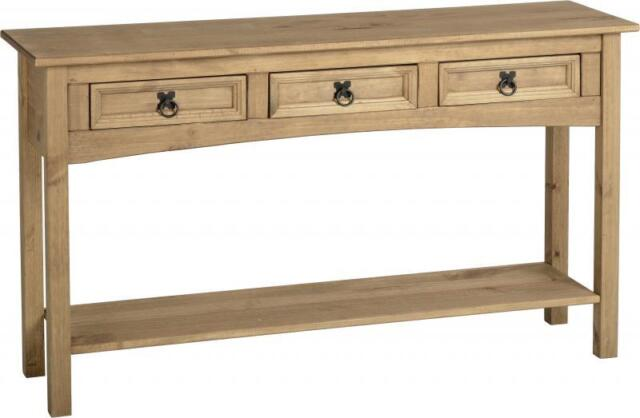 Corona Mexican 3 Drawer Console Table with Shelf Distressed Waxed Pine