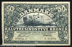 DENMARK-50-KRONER-P32-1942-EURO-BOAT-FISH-LARGE-RARE-CURRENCY-MONEY-BILL-NOTE