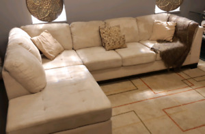Large beige microsuede Sectional Sofa