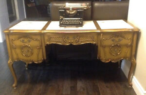 Beautiful detailed large antique desk, French Provincial Style