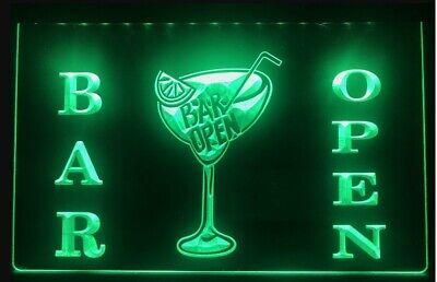 Cocktails Bar Open LED Neon Sign Home Light Up Drink Pub cocktail...