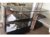 Modern black glass and chrome TV stand