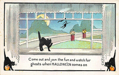 Halloween Black Cat JOL Poem Postcard