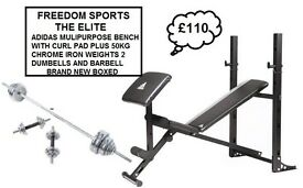 ADIDAS BENCH AND CURL PAD WITH 50KG CHROME WEIGHTS RRP £289 (BRAND NEW BOXED)