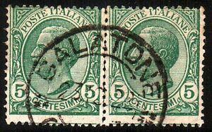 REGNO-D-039-ITALIA-1906-Coppia-5-cent-Vittorio-Emanuele-III-verde-Cat-SASSONE