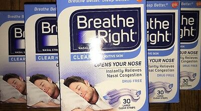 Six  6  Pack   Breathe Right Nasal Strips  Large Clear Strips  30 Count
