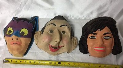 Vintage Jackie Kennedy Peewee Herman Batman Plastic Mask Lot POOR SHAPE