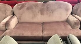 Velvet 3 piece suite, 3 + 2 seater sofas and Armchair