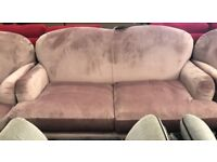 Velvet 3 piece suite, 3 and 2 seater sofas and Armchair