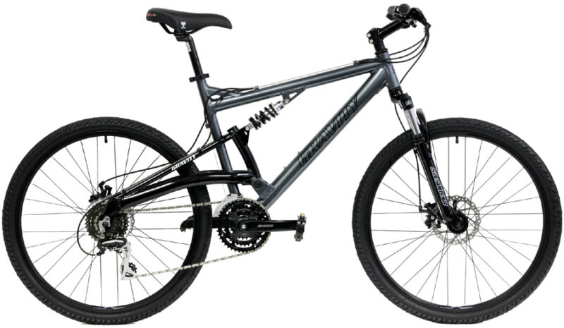 GRAVITY FSX 1.0  GRAY 19 FULL SUSPENSION MOUNTAIN BIKE w/ SHIMANO