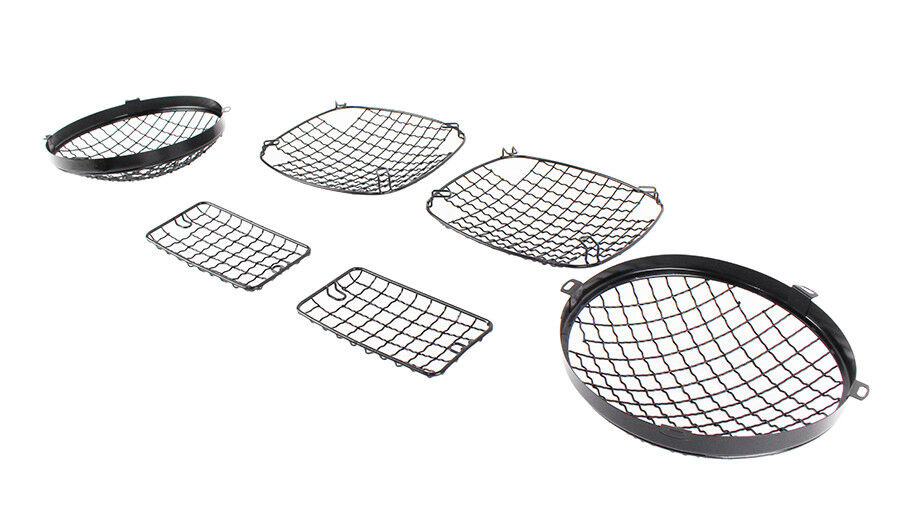 Wire Mesh Light Guard Set Black Stainless for Jeep