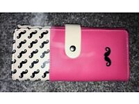 Botusi Pink Leather Purse with Moustache Printed Detail - Brand New
