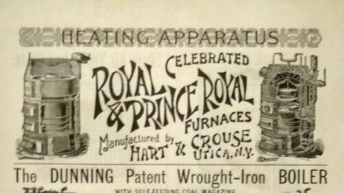 1893 UTICA NY Hart & Crouse Antique Furnace Art Vintage Print Ad