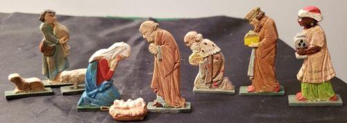 ATQ MINIATURE WOOD NATIVITY - ITALY - HOLY FAMILY, 3 KINGS, & SHEPHERD W/ SHEEP