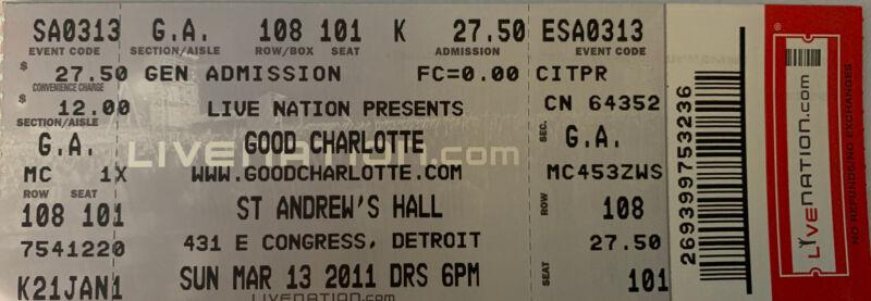 Good Charlotte Full Unused Ticket 3/13/11 St Andrew