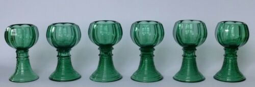 Good quality set of 6 antique green glass Roemers c1870