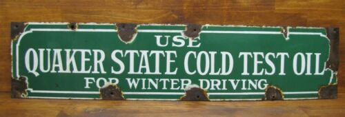 QUAKER STATE COLD TEST OIL Old Double Sided Porcelain Sign BALTIMORE ENAMEL NY
