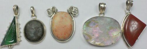 5 Vintage 925 Sterling Silver Abalone Agate Jade Jasper Stone Pendants 65 Grams
