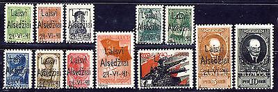 """Litauen """" Alsedschen """" Freimarken  1941 Mi# 1-10 + A und B 10  (*) Fälschung"""