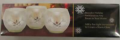 3 Frosted Glass Votive Candleholders Glitter Rhinestone Snowflakes NEW -