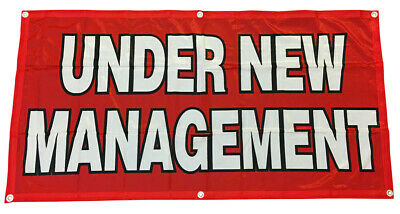 Under New Management Banner Sign Vinyl Alternative 2x4 Ft - Fabric Rb