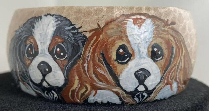 Cavalier King Charles Spaniel Dog Handpainted Leather Bangle PENTZ Gorgeous