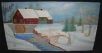 FOLK ART, LARGE CANADIAN OIL PAINTING, SIGNED