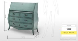 Secretary desk from Made's Bourbon range in Azure blue - sold out online. Immaculate condition.