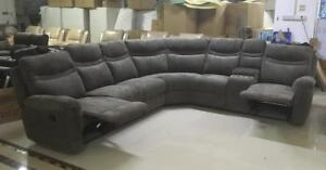 Lord Selkirk Furniture - Barcelona - 4PC Curve Sectional Recliner with Console in Grey Fabric - $1999.00