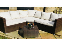 superb garden corner lounger set with cushions as new plus puffe table