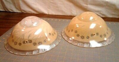 Antique Pair Ceiling Lamp Shade Fixtures Floral Peach and Clear Glass Victorian
