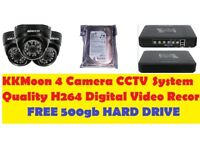 4 CAMERA CCTV SYSTEM WITH 4 KKMOON CAMERAS & QUALITY H264 DIGITAL VIDEO RECORDER & FREE 500gb HDD
