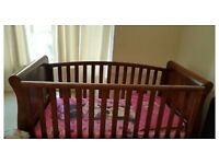 Free cot bed with mattress (dark wood)