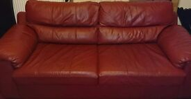 Leather large sofa bed and matching 2 seater sofa