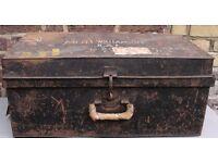 Trunk. Chest. RAF Gunners. Metal Box. Storage. Vintage