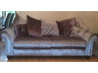 3 piece Hepburn Silver Grey Velvet Suite and Scatter Cushions. Foam filled Seats. As New £995