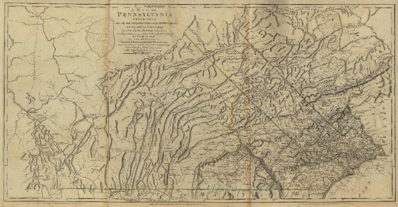 1770 PA MAP Pennsylvania History Genealogy .   RARE . HUGE