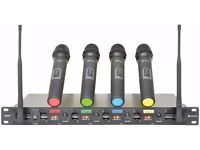 BRAND NEW CHORD QU4 QUAD UHF HANDHELD UHF PROFESSIONAL WIRELESS MICROPHONE SYSTEM - FOR DJ & KARAOKE