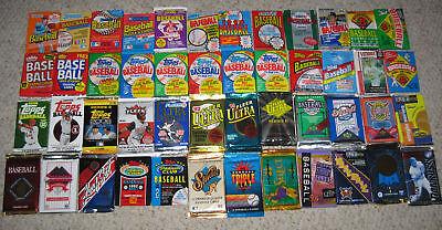 VINTAGE OLD BASEBALL CARDS IN SEALED PACKS. 100 CARD LOT - TOPPS, FLEER