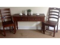 Antique finish new console table with chairs