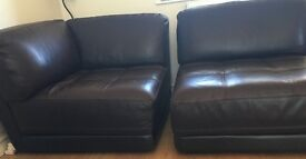 3 seater leather sofa and a 2 seater leather sofa/chaise for sale