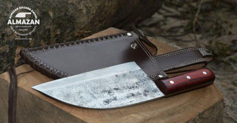 Original Almazan Kitchen Knife - Hand Forged High Carbon Blade & Leather Sheath