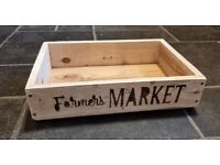 Rustic Hand-made Wooden TRAY / CRATE / BOX - FARMERS MARKET
