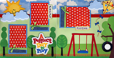 PLAY OUTDOORS playground 2 PrEmAdE ScRaPbOoK PaGeS Paper Piecing layout ~ CHERRY