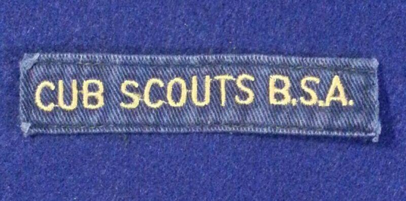 BSA CUB SCOUTS BSA YELLOW ON DARK BLUE POCKET STRIP 1947~MID 60