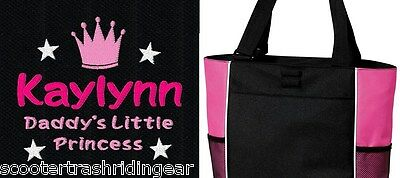 PERSONALIZED Daddy Princess Tote Bag diaper baby beach book pink black girls New (Personalized Baby Girl Diaper Bags)
