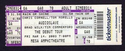 2003 Audioslave Burning Brides unused concert ticket Mesa Arizona Tom Morello